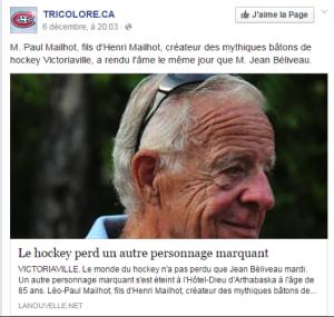 Publication Facebook Canadiens de Montréal décès de Léo-Paul Mailhot