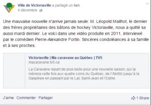 Publication Facebook de la Ville de Victoriaville, décès de Léo-Paul Mailhot